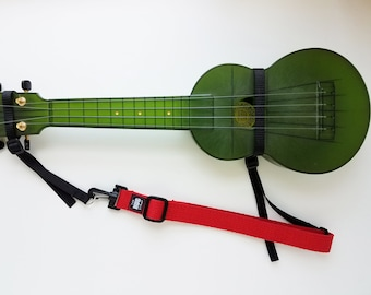 The Hug Strap, Handmade Ukulele Strap, Uke Strap, No Need for Strap Buttons, Red Uke Strap, Instrument Strap