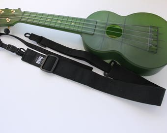 Ukulele Strap, All in One HUG Strap, Black Canvas, Works with or Without Strap Buttons, Hands Free Uke Strap