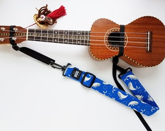 The Hug Strap with Nylon Cinch, Ukulele Strap, Uke Strap, No Need for Strap Buttons, Whales on Blue