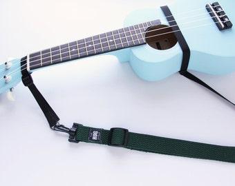 The Hug Strap, Handmade Ukulele Strap, Uke Strap, No Need for Strap Buttons, Hunter Green Uke Strap