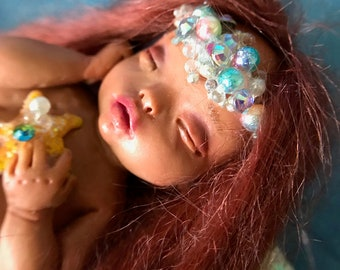 OOAK mermaid child merbaby Lea super one of a kind original art doll fairy