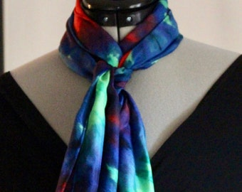 """11""""x60"""" blue, green, and red silk scarf #30"""