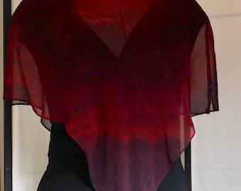 Red and Burgundy Silk Chiffon Poncho #1