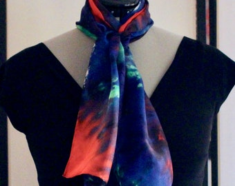 """11""""x60"""" blue, red, and green silk scarf #34"""