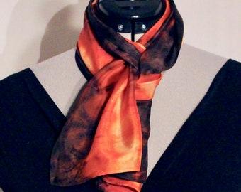 "8""x54"" burgundy, orange, and yellow silk scarf #4"
