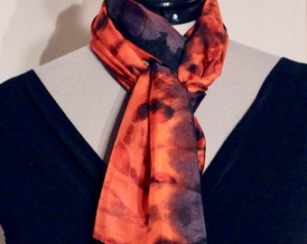 """8""""x54"""" red and purple silk scarf #18"""