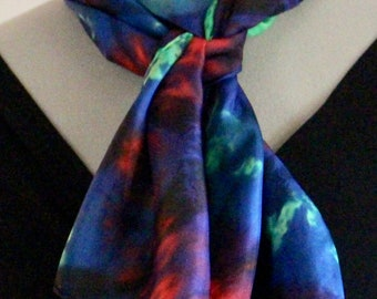 """11""""x60"""" blue, red, and green silk scarf #31"""