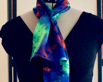 """11""""x60"""" blue, red, and green silk scarf #33"""