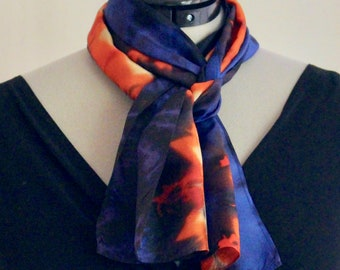 """8""""x54"""" Blue, red, and tan silk scarf #16"""