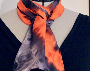 """8""""x54"""" red, gray, and black silk scarf #1"""