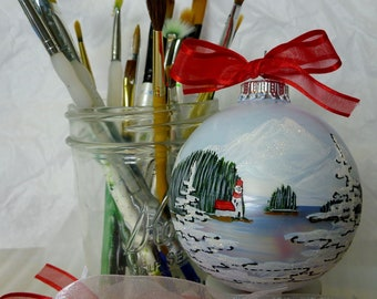 LIGHTHOUSE CHRISTMAS ORNAMENT-Personalized- Handpainted in Alaska.