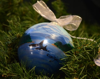 ORCA PASS personalized hand-painted glass ball Christmas ornament