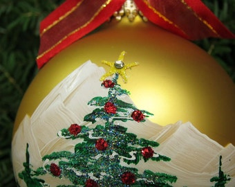 CHRISTMAS TREE personalized hand-painted glass ball Christmas ornament