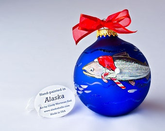 SANTA SALMON personalized hand-painted glass ball Christmas ornament