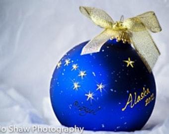 ALASKA FLAG Christmas Ornament-Handpainted Big Dipper stars studded with Swarovski Elements, Blue and gold
