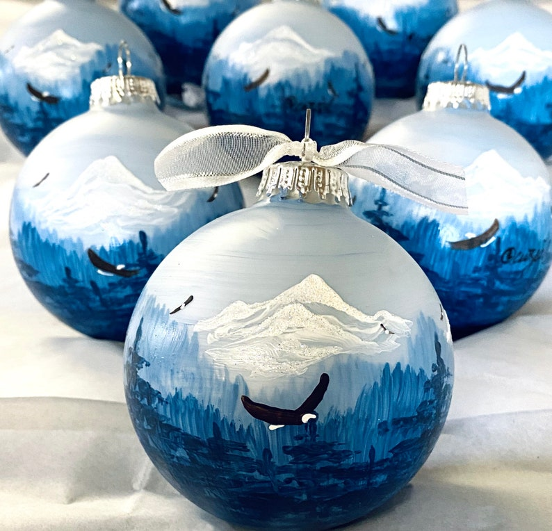 SOARING EAGLES personalized hand-painted glass ball Christmas image 0