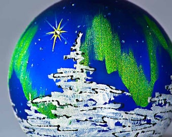 CHRISTMAS STAR personalized hand-painted glass ball Christmas ornament