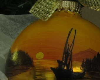 FISHING BOAT personalized hand-painted glass ball ornament