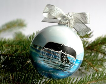 WHALE TAIL-Handpainted Christmas Ornament- Personalized Blue and silver custom ornament