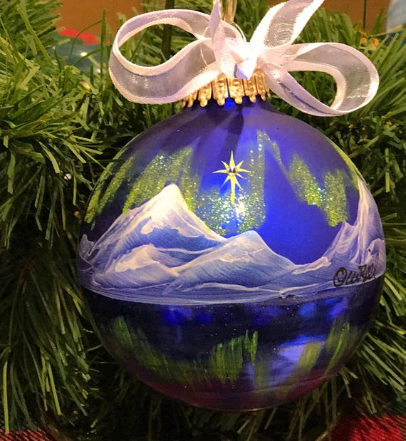 Northern Lights Reflections Personalized Hand Painted Ornament Etsy