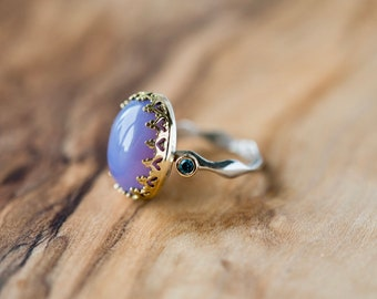 Holley Blue Agate Crown Ring