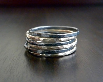 1 Mini Oxidized Silver Stackable Ring
