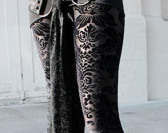 BLACK MAGIC III stretch velvet burnout leggings