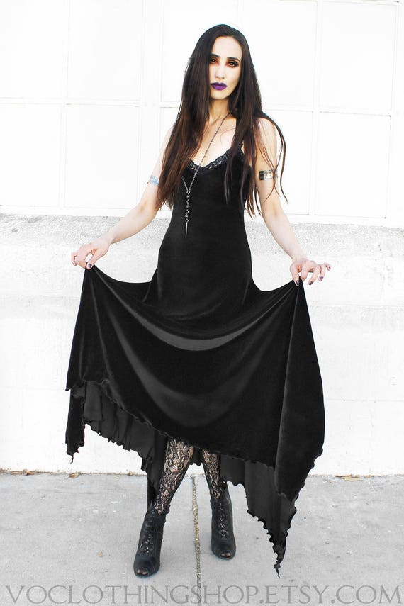 WITCHY VELVET DRESS full length black camisole maxi dress with  f88b6ad987ff