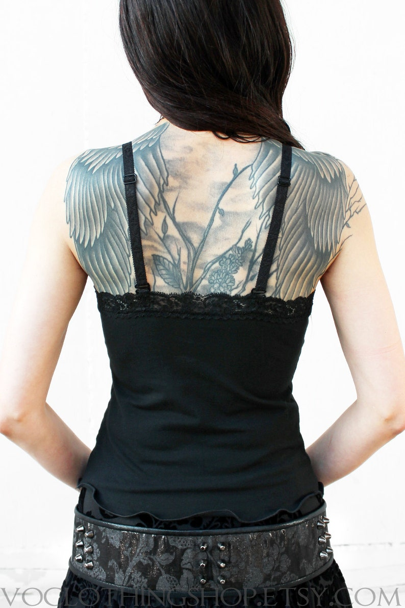 BLACK CROPPED CAMISOLE with stretch lace trim and lingerie bra straps