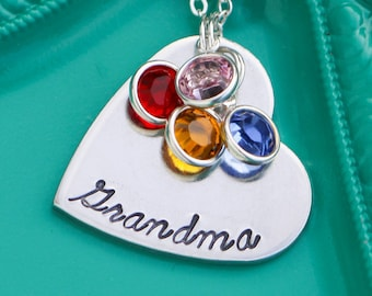 Grandma Necklace Mom Jewelry Grandma Birthday Gift Custom Heart Necklace Personalized • Grandma Grandchildren Gift Grandkid