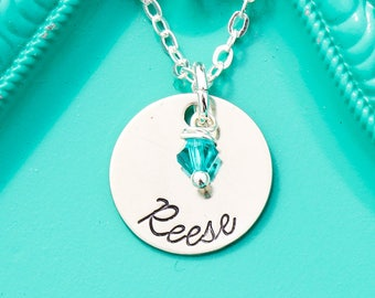 Custom Name Necklace • Handstamped Personalized Name Charm Stamped Name Gift Small Birthstone Necklace • Simple Necklace Minimal