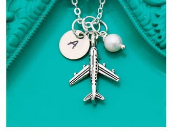 Airplane Necklace • Flight Attendant Gifts • Personalized Plane Necklace Silver Airplane Charm • Airplane Jewelry Pilot Gift Idea