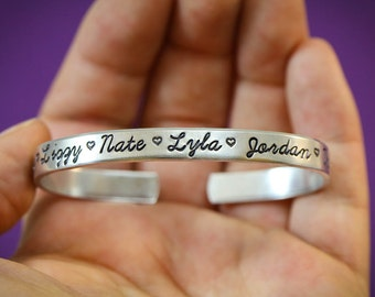 Cuff Bracelet Custom Cuff Silver • Gift for Mom Bracelet • Grandma Gift Family Name Bracelet • Handstamped Childrens Name Bracelet • QQQ