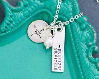 Dainty Coordinate Necklace • Graduation Friend Gift Custom Coordinate Jewelry • Latitude Longitude Necklace Stamped Coordinate Gift • QQQ