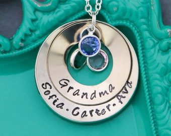 Grandma Necklace Grandchildren Gift Custom Name • Necklace Washer •Mom Jewelry Name Mothers Day Gift Stamped Necklace Birthstone Family Gift