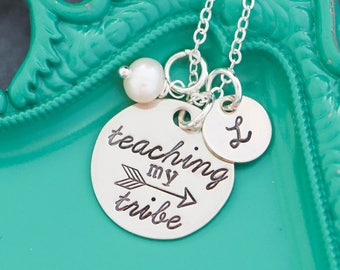Teacher Necklace Custom Teacher Gift • Teaching My Tribe Jewelry • New Teacher Quote Necklace • Preschool Teacher Kindergarten