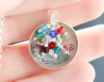 Grandma Necklace Grandma Gift • Personalized Grandma Jewelry • Birthstone Necklace Grandmother Gift Nana Birthstone Month Birth