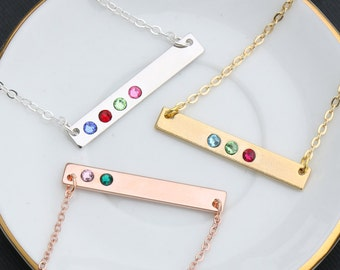 Birthstone Necklace • Mother's Day Gift Birthstone Bar Swarovski Crystal Mom Necklace Rose Gold Bar • Tiny Crystal Small Birthstone BB_18