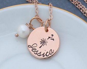 Wish Necklace Dandelion Wish Jewelry • Make a Wish Gift •Stamped Rose Gold Necklace Name Rose Gold Bridesmaid Gift Girl•Spring Gift Birthday