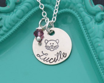 Cat Necklace Kitty Cat Jewelry • Cat Lover Gift Kitty Cat Gift • Personalized Cat Charm • Girl Necklace Kitty Jewelry Cat Party