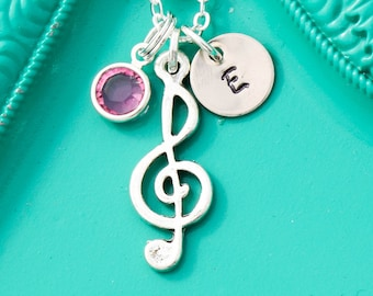 Music Note Necklace • Music Teacher • Piano Teacher Gift Music Gift • Treble Clef Music Lover Gift Musician Gifts Music Necklace
