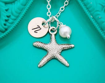 Beach Jewelry • Starfish Necklace • Silver Initial Charm • Beach Wedding Gift Bridesmaid Necklace • Beach Gift Starfish Jewelry