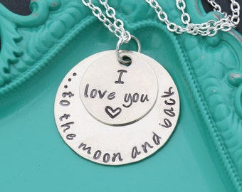 Love You to the Moon and Back Love Quote Necklace • Daughter Gift Friend Necklace Granddaughter Gift Niece Necklace Love Jewelry • VA18