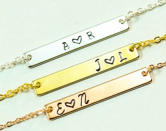 Gold Bar Necklace • Initial Necklace Best Friend Gift • Silver Bar Necklace Anniversary Gift Children Initial Friendship Necklace