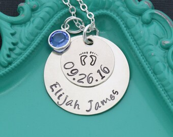 New Mom Gift • Personalized New Mother Necklace Gift • Mothers Day Gift Layered Name Necklace Push Present •New Baby Mother Child Birthstone