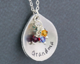 Grandma Gift Grandchildren • Grandma Mother's Day Gift • Custom Grandma Necklace • Teardrop Birthstone Necklace • Mom Gift Grandma Birthday