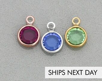 786eac892cd066 Swarovski Crystal Charm Channel Drop Charm • Silver Crystal Round Gold  Crystal Birthstone Swarovski Charm Extra Crystal Jewelry