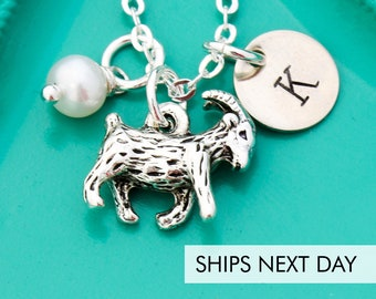 Goat Necklace • Custom Name Jewelry • Goat Lover Farm Goat 4H Gift • Kid Necklace • Personalized Goat Gift Pet Show Goat Funny Farm Animal
