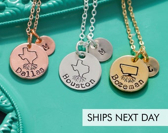 State Necklace • Home Town Roots • Texas Necklace Tiny State Charm •  QQQ • State Jewelry PNW • Handstamped State Outline • Friend Gift