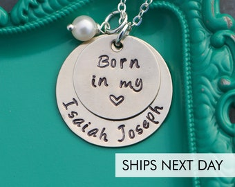 Born in my Heart Necklace • Adoption Mom Gift • Personalized Name Necklace Gift Adoption Present • New Mother Necklace Handstamped Jewelry